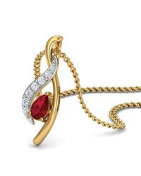Diamoire Jewels - Metallic Premium Quality Diamonds And Ruby Pendant Nature Inspired In 18kt Yellow Gold - Lyst