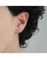 Simplicated Jewelry Metallic Unique Gold And Oxidised Silver Bar Earring With 9kt Yellow Gold