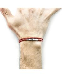 Anchor & Crew - Multicolor Red Noir Liverpool Silver And Rope Bracelet for Men - Lyst