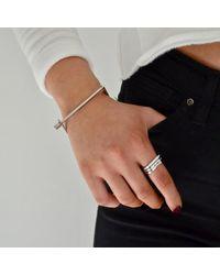 Opes Robur Metallic Silver Slim Screw Cuff Bracelet