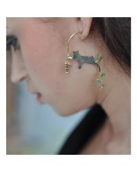 Amanda Coleman - Multicolor 22kt Gold Plated Asymmetric Reclining Leopard Earrings With Flower - Lyst