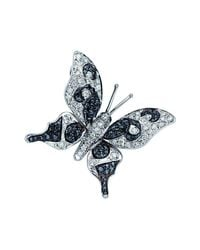 Pinomanna - Blue Natural Chic Butterfly Necklace - White Gold - Lyst