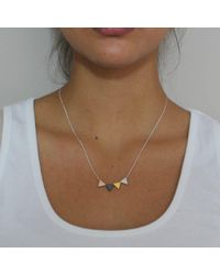Vicky Davies - Metallic Sterling Silver & Gold Triangle Mixed Bead Necklace - Lyst