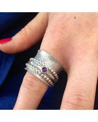 Sandra Anne Designs - Multicolor Beaded Amethyst Meditation Ring - Lyst