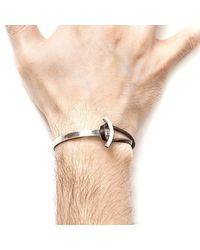 Anchor & Crew - Multicolor Dark Brown Galleon Silver And Leather Half Bangle for Men - Lyst