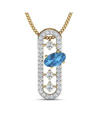 Diamoire Jewels - Metallic Nature Inspired Oval Aquamarine Pendant With Premium Diamonds In 10kt Yellow Gold - Lyst