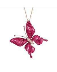 SILVER YULAN - Multicolor Ruby-sapphire Butterfly Necklace-brooch - Lyst