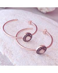 Latelita London - Metallic Diamond Rose Chalcedony Rose Gold Hoop Earring - Lyst