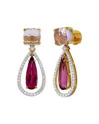 Aara Designer Jewelry - Multicolor 18kt Gold, Diamond & Rubellite Jewel Of The Nile Drop Earrings - Lyst