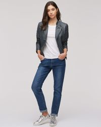 Jigsaw - Blue Quilted Washed Biker Jacket - Lyst