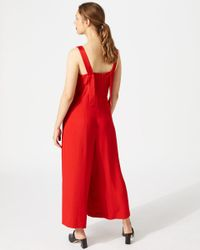 Jigsaw - Red V Neck Relaxed Jumpsuit - Lyst
