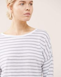 Jigsaw Gray Stripe Cotton Slub Slouchy Tee