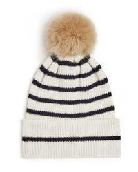 Jigsaw White Islay Breton Stripe Pom Hat
