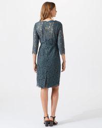 Jigsaw Blue Three-quarter Length Sleeve Lace Dress