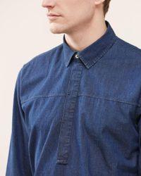 Jigsaw Blue Indigo Overhead Regular Fit Shirt for men