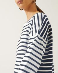 Jigsaw Blue Mixed Breton Stripe Top