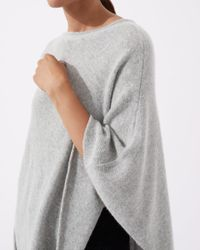 Jigsaw Gray Wool Cashmere Blend Rolled Poncho