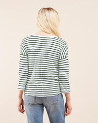 Jigsaw Blue Stripe Cotton Slub Slouchy Tee