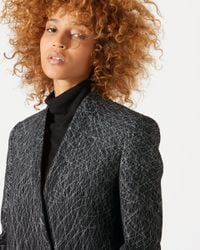 Jigsaw Gray Wind Spiral Collarless Coat