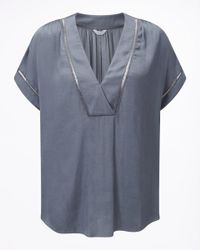 Jigsaw Gray Crocus Drape Top