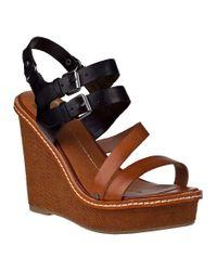 Dolce Vita Jobin Wedge Sandal Black/cognac Leather