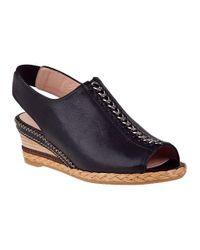 Stuart Weitzman | Linkage Wedge Sandal Black Leather | Lyst