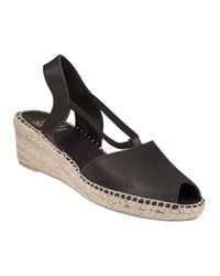 Andre Assous   Dainty Wedge Espadrille Black Leather   Lyst