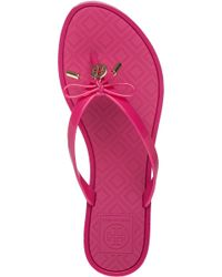 Tory Burch - Pink Jelly Bow Thong Sandals - Lyst