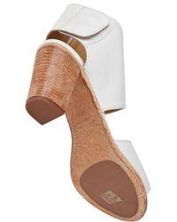 275 Central | Block Heel Sandal White Leather | Lyst