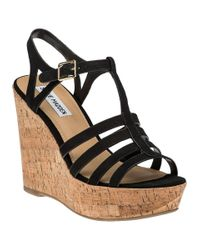 Steve Madden | Black Nalla Leather Wedge Sandals | Lyst
