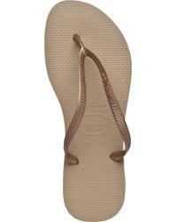 Havaianas - Metallic Slim Flip Flop Sand Gold - Lyst