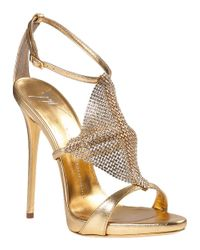 Giuseppe Zanotti | Metallic Crystal Mesh Evening Sandal Gold Leather | Lyst