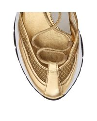 Michigan Baskets En Cuir Nappa Mtallis, Cuir Verni Et Maille Dore Dor 34 Jimmy Choo en coloris Metallic