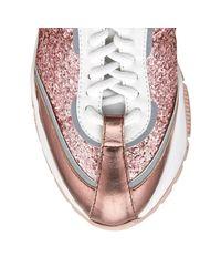 Raine Baskets En toffe Paillete Et Cuir De Veau Rose Barbe Papa Barbe Papa 34 Jimmy Choo en coloris Pink