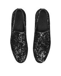 Jimmy Choo - Black Sloane Men's Coarse Glitter Velvet Slipper for Men - Lyst