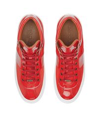 Jimmy Choo - Red Belgravia Patent-leather And Suede High-top Sneakers for Men - Lyst