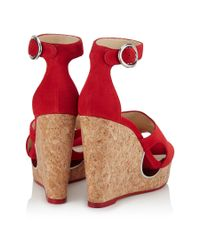 Jimmy Choo - Metallic Neyo 120 Red Suede Cork Wedges With Cut-out - Lyst