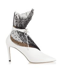 Jimmy Choo Leanne 85 White Calf Leather Booties With Polka Dot Net
