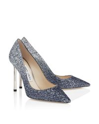 Jimmy Choo - Gray Vamp Glitter-covered Leather Sandals - Lyst