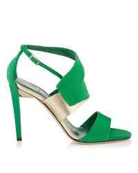 Jimmy Choo Trapeze 100 Kew Suede And Champagne Mirror Leather Sandals Green 37