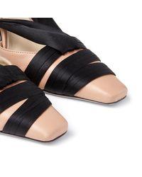 Jimmy Choo Louren 100 Black サテンリボン付き Ballet Pink ナッパレザー・パンプス