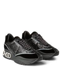 Raine Baskets En Velours Noir Et Mix Paillettes Jimmy Choo en coloris Black