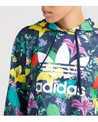 Adidas Blue Blossom Of Life Cropped Hoodie