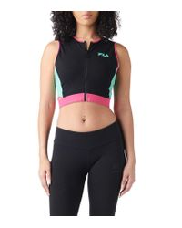 Fila - Black Tally Colorblocked Zipped Cropped Tank Top - Lyst