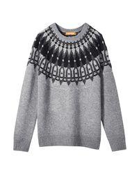 Joe Fresh | Gray Metallic Fair Isle Sweater | Lyst