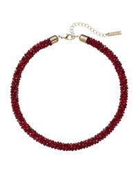 Joe Fresh - Red Beaded Tube Necklace - Lyst