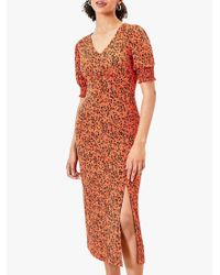 Oasis Orange Animal Print Shirred Short Sleeve Midi Dress