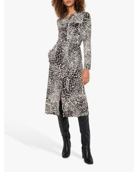Warehouse Black Mono Animal Print Dress