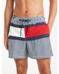 Tommy Hilfiger Blue Stripe Flag Swim Shorts for men