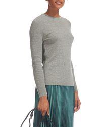 Whistles Blue Cashmere Saddle Shoulder Cashmere Knit Jumper